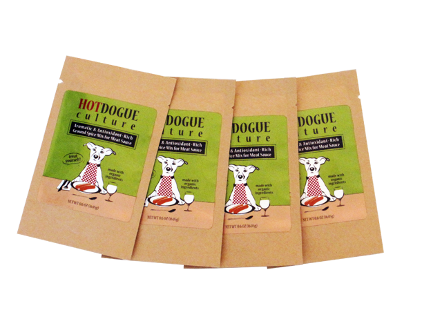 Four packets of HotDogue Culture Spice Mix